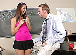 Hot teeny Nadia Noel makes a leap from college math to a sweaty fuck with her mature teacher right in a classroom