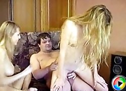 Teen girls got their twats trained by huge unshaven old guy