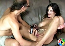 Old dirty grandpa teaches young slut to use dildo