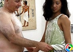 Tight hot brunette asian slut China Doll gets her natural body molested then gets her hairy pussy rammed really hard!
