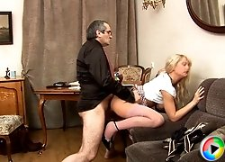 Blonde hottie came to her teacher's place asking for grade, but he said she has to deserve it and suck his wrinkled cock.