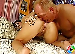 Cute ebony chick lets a much older man lick her pussy and ass and rides his firm cock to a powerful orgasm
