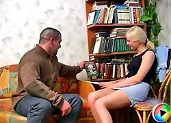 The secretary and her older boss having fun at his place and she blows his cock to make it hard
