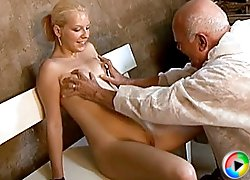 Balding grandpa gets lucky to fuck a much younger chick and give her a cumshot in these videos from Old Man Tales