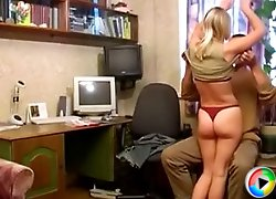 Young slut gets a heavy dose of hardcore fucking from an older guy